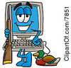 Clipart Picture Of A Desktop Computer Mascot Cartoon Character Duck Hunting Standing With A Rifle And Duck by Toons4Biz