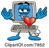 Clipart Picture Of A Desktop Computer Mascot Cartoon Character With His Heart Beating Out Of His Chest by Toons4Biz