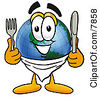 Clipart Picture Of A World Earth Globe Mascot Cartoon Character Holding A Knife And Fork by Toons4Biz