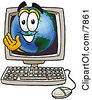 Clipart Picture Of A World Earth Globe Mascot Cartoon Character Waving From Inside A Computer Screen by Toons4Biz