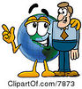 Clipart Picture Of A World Earth Globe Mascot Cartoon Character Talking To A Business Man by Toons4Biz