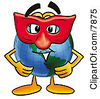 Clipart Picture Of A World Earth Globe Mascot Cartoon Character Wearing A Red Mask Over His Face by Toons4Biz