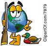 Clipart Picture Of A World Earth Globe Mascot Cartoon Character Duck Hunting Standing With A Rifle And Duck by Toons4Biz