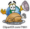 Clipart Picture Of A World Earth Globe Mascot Cartoon Character Serving A Thanksgiving Turkey On A Platter by Toons4Biz