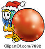 Clipart Picture Of A World Earth Globe Mascot Cartoon Character Wearing A Santa Hat Standing With A Christmas Bauble by Toons4Biz