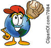 Clipart Picture Of A World Earth Globe Mascot Cartoon Character Catching A Baseball With A Glove by Toons4Biz