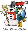 Clipart Picture Of A World Earth Globe Mascot Cartoon Character With A Snowman On Christmas by Toons4Biz
