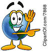 Clipart Picture Of A World Earth Globe Mascot Cartoon Character Waving And Pointing by Toons4Biz