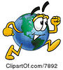 Clipart Picture Of A World Earth Globe Mascot Cartoon Character Running by Toons4Biz