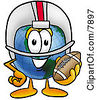 Clipart Picture Of A World Earth Globe Mascot Cartoon Character In A Helmet Holding A Football by Toons4Biz