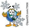 Clipart Picture Of A World Earth Globe Mascot Cartoon Character With Three Snowflakes In Winter by Toons4Biz
