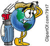 Clipart Picture Of A World Earth Globe Mascot Cartoon Character Swinging His Golf Club While Golfing by Toons4Biz