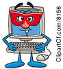 Clipart Picture Of A Desktop Computer Mascot Cartoon Character Wearing A Red Mask Over His Face by Toons4Biz