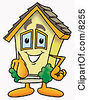 Clipart Picture Of A House Mascot Cartoon Character Pointing At The Viewer by Toons4Biz