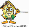 Clipart Picture Of A House Mascot Cartoon Character Holding A Pointer Stick by Toons4Biz