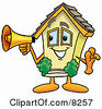 Clipart Picture Of A House Mascot Cartoon Character Holding A Megaphone by Toons4Biz