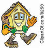 Clipart Picture Of A House Mascot Cartoon Character Hiking And Carrying A Backpack by Toons4Biz
