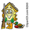 Clipart Picture Of A House Mascot Cartoon Character Duck Hunting Standing With A Rifle And Duck by Toons4Biz