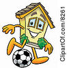 Clipart Picture Of A House Mascot Cartoon Character Kicking A Soccer Ball by Toons4Biz