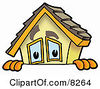 Clipart Picture Of A House Mascot Cartoon Character Peeking Over A Surface by Toons4Biz