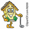 Clipart Picture Of A House Mascot Cartoon Character Leaning On A Golf Club While Golfing by Toons4Biz