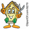 Clipart Picture Of A House Mascot Cartoon Character Holding A Pair Of Scissors by Toons4Biz