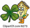 Clipart Picture Of A House Mascot Cartoon Character With A Green Four Leaf Clover On St Paddys Or St Patricks Day by Toons4Biz