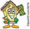Clipart Picture Of A House Mascot Cartoon Character Holding A Dollar Bill by Toons4Biz