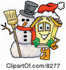 Clipart Picture Of A House Mascot Cartoon Character With A Snowman On Christmas by Toons4Biz