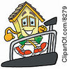 Clipart Picture Of A House Mascot Cartoon Character Walking On A Treadmill In A Fitness Gym by Toons4Biz