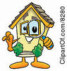 Clipart Picture Of A House Mascot Cartoon Character Looking Through A Magnifying Glass by Toons4Biz