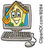 Clipart Picture Of A House Mascot Cartoon Character Waving From Inside A Computer Screen by Toons4Biz