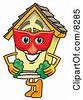 Clipart Picture Of A House Mascot Cartoon Character Wearing A Red Mask Over His Face by Toons4Biz