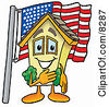 Clipart Picture Of A House Mascot Cartoon Character Pledging Allegiance To An American Flag by Toons4Biz