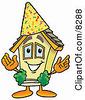 Clipart Picture Of A House Mascot Cartoon Character Wearing A Birthday Party Hat by Toons4Biz