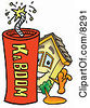 Clipart Picture Of A House Mascot Cartoon Character Standing With A Lit Stick Of Dynamite by Toons4Biz