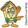 Clipart Picture Of A House Mascot Cartoon Character Waving And Pointing by Toons4Biz