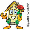Clipart Picture Of A House Mascot Cartoon Character Holding A Red Rose On Valentines Day by Toons4Biz