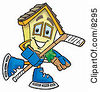 Clipart Picture Of A House Mascot Cartoon Character Playing Ice Hockey by Toons4Biz