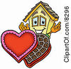 Clipart Picture Of A House Mascot Cartoon Character With An Open Box Of Valentines Day Chocolate Candies by Toons4Biz