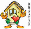 Clipart Picture Of A House Mascot Cartoon Character With His Heart Beating Out Of His Chest by Toons4Biz