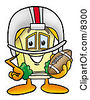 Clipart Picture Of A House Mascot Cartoon Character In A Helmet Holding A Football by Toons4Biz