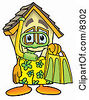 Clipart Picture Of A House Mascot Cartoon Character In Green And Yellow Snorkel Gear by Toons4Biz