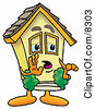 Clipart Picture Of A House Mascot Cartoon Character Whispering And Gossiping by Toons4Biz