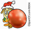 Clipart Picture Of A House Mascot Cartoon Character Wearing A Santa Hat Standing With A Christmas Bauble by Toons4Biz