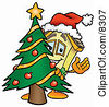 Clipart Picture Of A House Mascot Cartoon Character Waving And Standing By A Decorated Christmas Tree by Toons4Biz