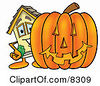 Clipart Picture Of A House Mascot Cartoon Character With A Carved Halloween Pumpkin by Toons4Biz