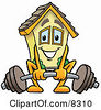 Clipart Picture Of A House Mascot Cartoon Character Lifting A Heavy Barbell by Toons4Biz