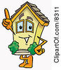 Clipart Picture Of A House Mascot Cartoon Character Pointing Upwards by Toons4Biz