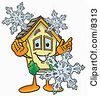 Clipart Picture Of A House Mascot Cartoon Character With Three Snowflakes In Winter by Toons4Biz